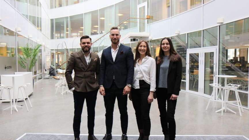Sebastian Uramek (left), from Sigma IT Tech in Stockholm, with colleagues Ossian Ripke Johansson, Alva Hellberg and Alina Pavlenko.