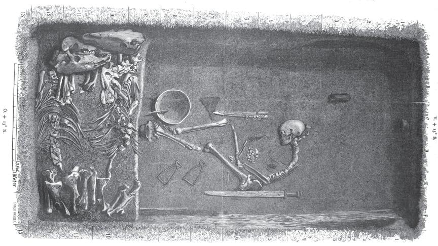 Så här kan graven på Birka ha sett ut där den kvinnliga krigaren begravdes. Gravplanen är skapad av Evald Hansen och baserad på originalplanen från grav Bj 581 från Hjalmar Stolpes utgrävningar på Birka under slutet på 1800-talet (Stolpe 1889).