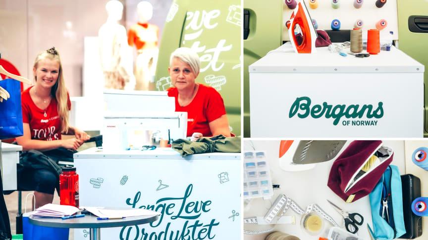 Denne helgen tilbyr Bergans gratis reparasjon av turklær i sin nye butikk i Tromsø. Bildene er tatt under sommerens Tour de Sy turné. F.v: Hedda Marie Bay (Esmod), Anne Granerud (Bergans). Foto: Bergans