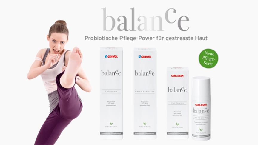 Zwei Marken, drei Produkte ein Konzept: GEHWOL plus GERLASAN balance für die vorsorgende probiotische Fuß-, Bein- und Handpflege bei gestresster Haut. Bild: izusek | istockphoto