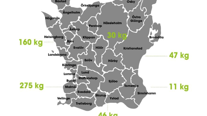 Karta över läkemedelsutsläpp i Skåne