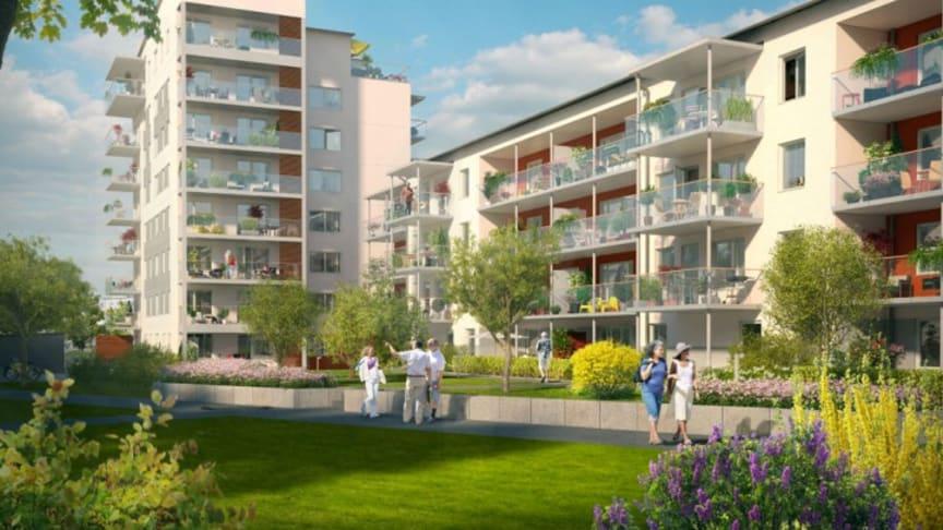 Första spadtaget för seniorbostäder i Viksjö centrum