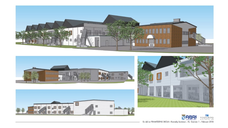 Designskiss - den nya 4-9 skolan i Ronneby, Parkdalaskolan.