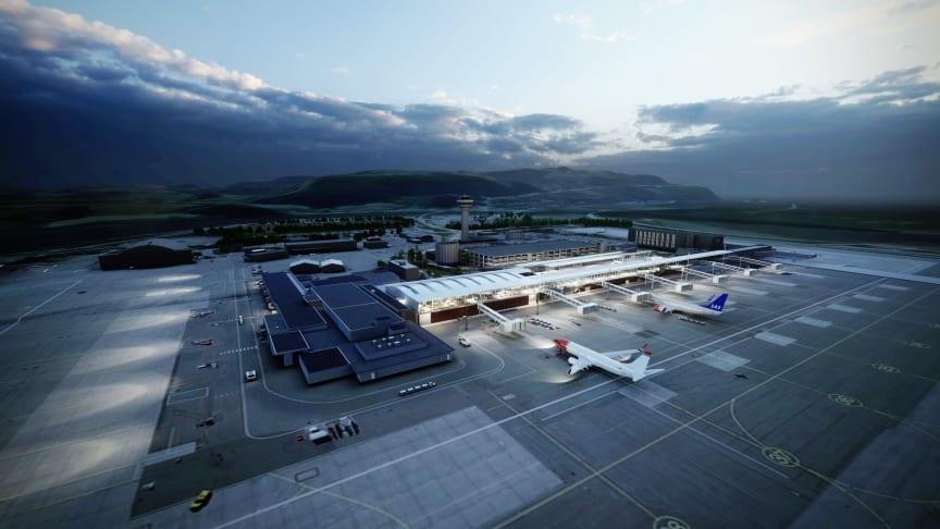 Rådgiverteamet bestående av Norconsult, Nordic – Office of Architecture og COWI er valgt av Avinor for utvidelse av Trondheim Lufthavn Værnes. (Illustrasjon: Nordic - Office of Architecture).