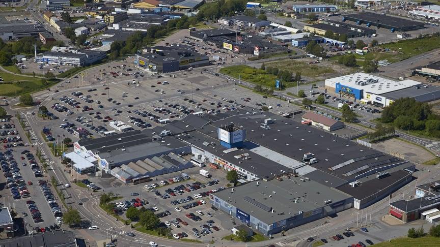 Flygbild nära, Backaplan, Göteborg