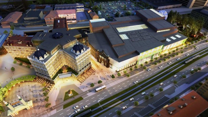 Konceptbild av Lisebergs nya hotell och vattenpark