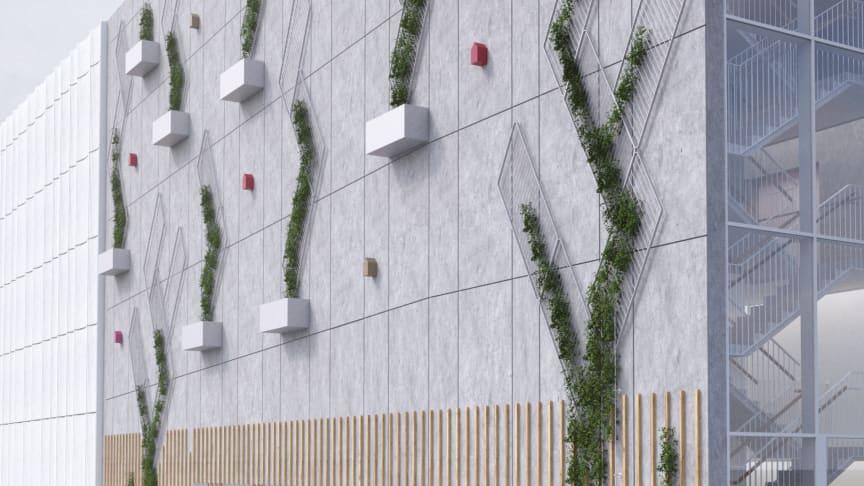 Fasad med återbrukade trappräcken