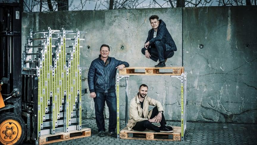 Fra venstre: CEO og partner, Steen Frederiksen, øverste palle: Opfinder og grundlægger af SpaceInvader, Jesper Rølund, nederste palle: Partner og operationsansvarlig Mads Klie-Holde (PR  foto: fotograf Kim Wendt)