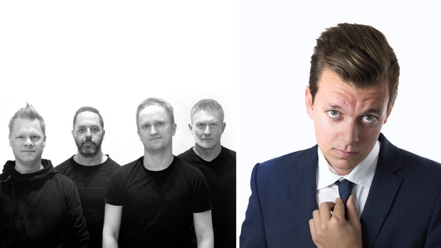 Bandet 4Play och trollkarlen Douglas Nordenbelt, för högupplösta pressbilder se länk nedan.