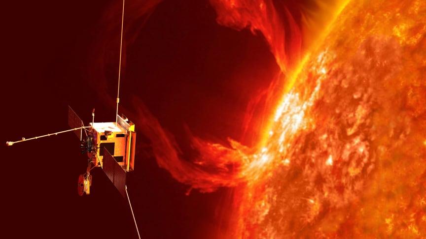 Illustration av Solar Orbiter som inom kort skjuts upp med destination solen. IRF bidrar till instrumentet Radio and Plasma Waves (RPW). Copyright: ESA/AOES
