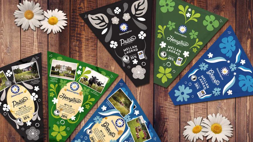 Ostarna Präst, Herrgård och Grevé från Skånemejerier är alltid tillverkade av svensk mjölk från sydsvenska bönder.