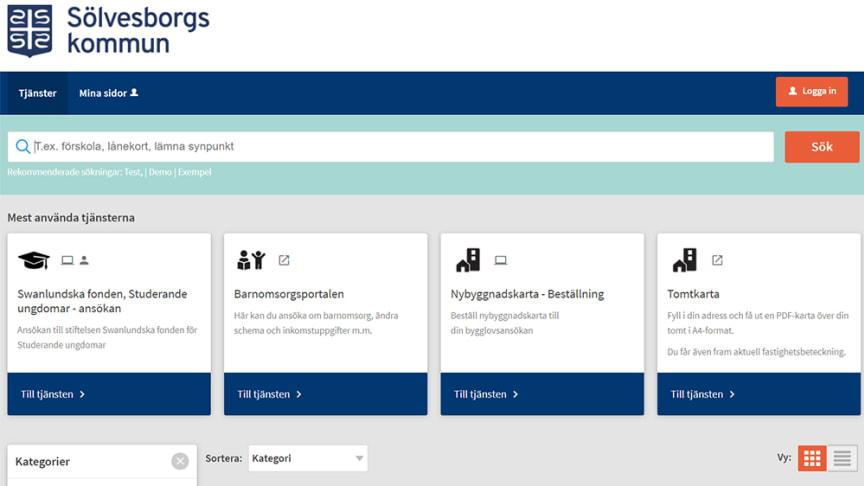 Sölvesborgs kommuns e-tjänsteplattform. Foto: Sölvesborgs kommun.