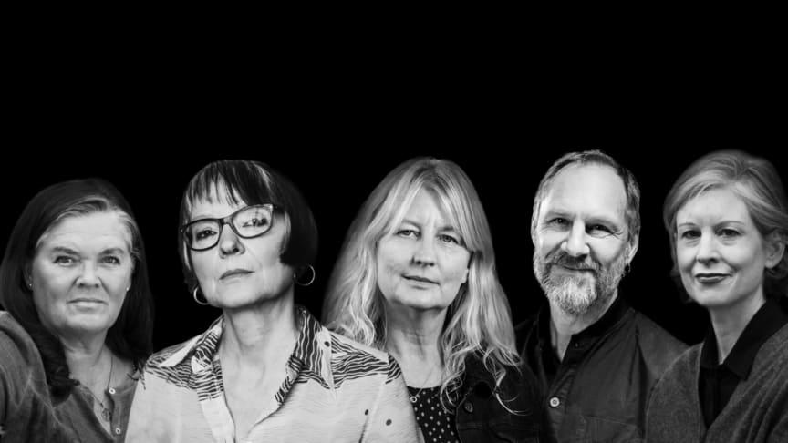 Författare som gästar Sigtuna Litteraturfestival. Från vänster: Maja Hagerman, Anneli Jordahl, Karin Smirnoff, Per Gustavsson och Linda Skugge