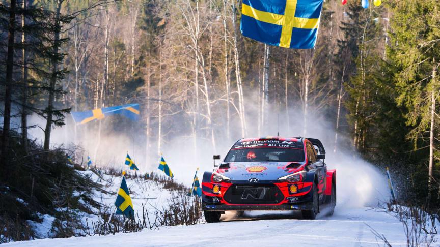 Hyundai Motorsport på pallen i 2020 Rally Sweden.