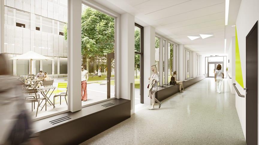 Syntolkning: Skissbild och fotomontage av tänkt sjukhuskorridor med dörr öppen mot innergård.