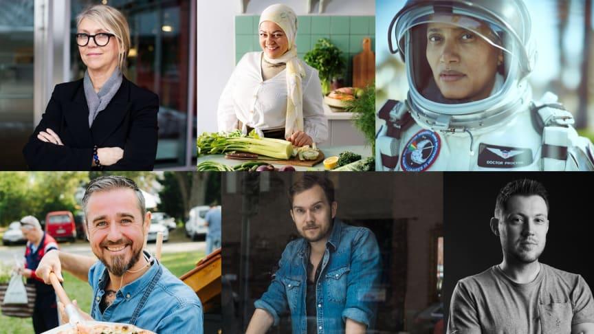 Fr v: Lotta Ahlvar, Zeina Mourtada, Dr. Sian Proctor, Sébastien Boudet, Gustav Johansson och Sebastian Wussler deltar alla på GastroSummit.