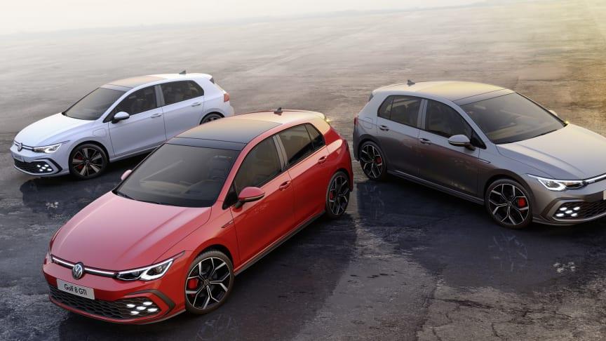 Volkswagen præsenterer bla. de tre sportslige GTI, GTD og GTE-varianter af den nye Golf 8