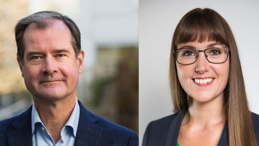 Mårten Lilja, vice vd Riksbyggen och chef för affärsområde Bostad och Johanna Ode, bostadspolitisk expert och verksamhetsutvecklare.