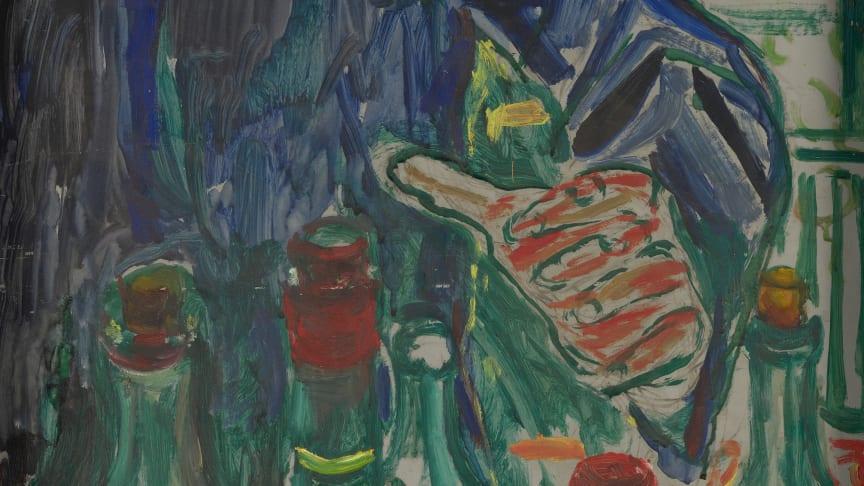 Hånd som griper etter flasker, Olje på lerret. Foto: Munchmuseet