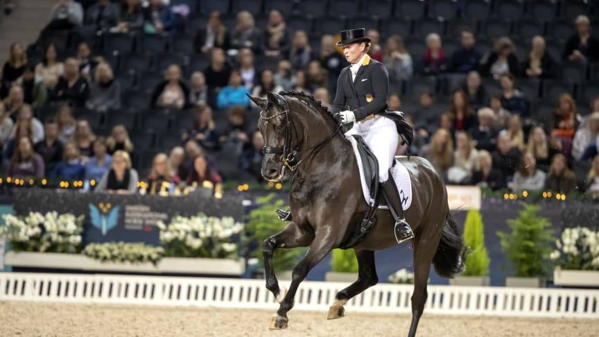 Isabell Werth and Weihegold OLD - winners of the Saab Top 10 Dressage Grand Prix. Photo credit: Roland Thunholm