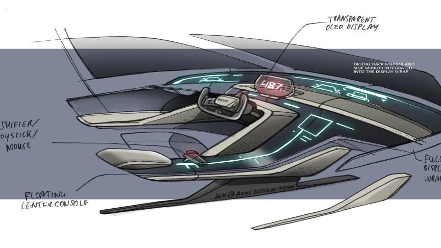 Audi RSQ e-tron skitse af cockpit med kommentarer (spionbil til animationsfilmen Spies in Disguise)