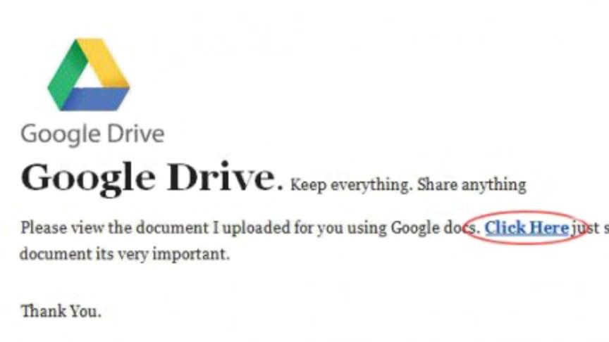 Skulle du upptäcka att det här var ett bluffmejl från Google Drive?