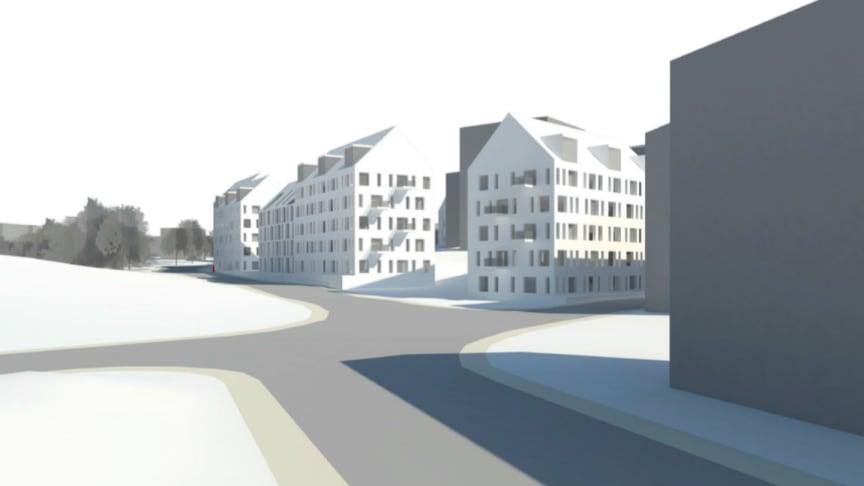 Visionsbild av hur den kommande byggnationen kan komma att se ut. Bild: Arkitema