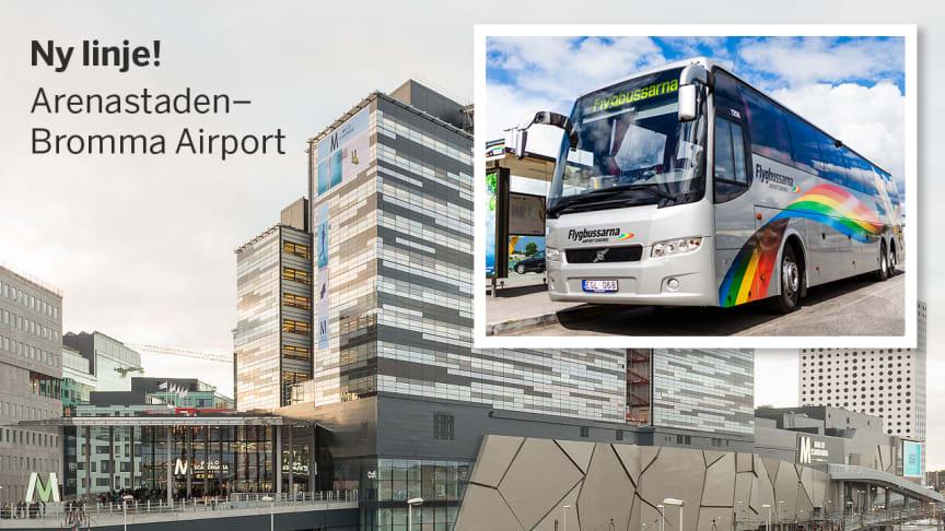 Den 1 oktober börjar Flygbussarna trafikera sträckan Arenastaden - Bromma Airport