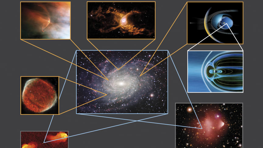 Shocks are abundant throughout the Universe, and this image shows multiple shocks which have been detected from numerous astronomical sources. (See full version and copyright below)