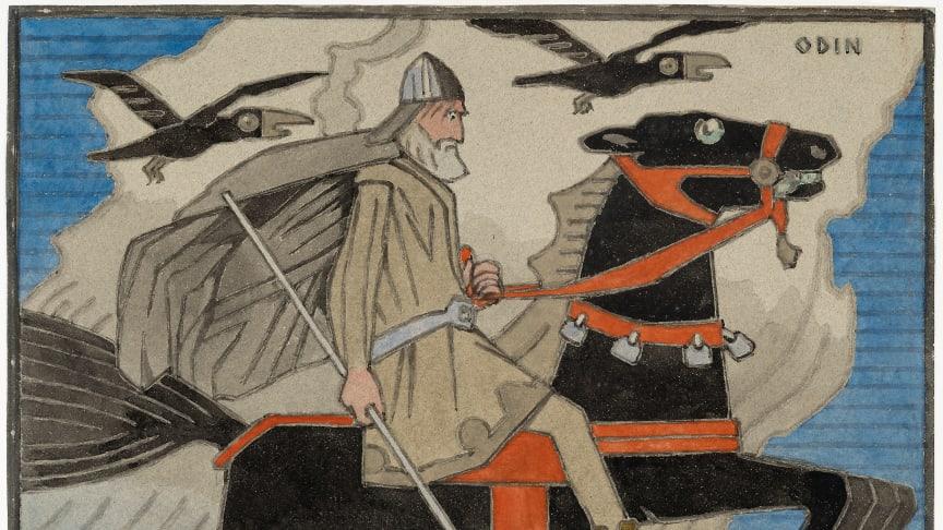 """Få med deg publikumsuksessen  """"Gerhard Munthe. Eventyrlig design»  i Nasjonalgalleriet,før den tas ned 2. september. På bildet """"Odin rir Sleipner"""", akvarell. KODE, Bergen Kunstmuseum."""