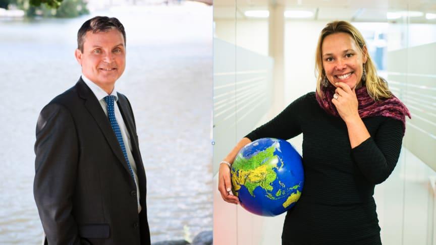 Leif Linde, vd på Riksbyggen och Charlotta Szczepanowski, hållbarhetschef.