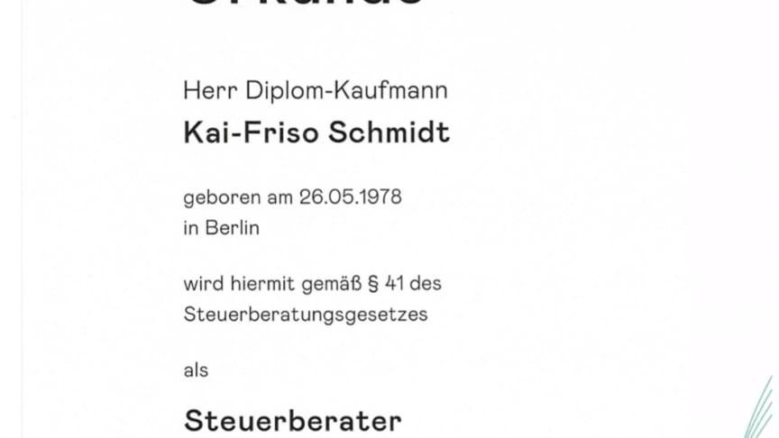 Kai-Friso Schmidt ist jetzt Steuerberater