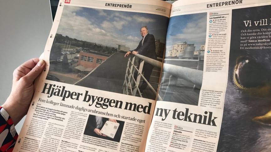 Artikeluppslag i Dagens industri.