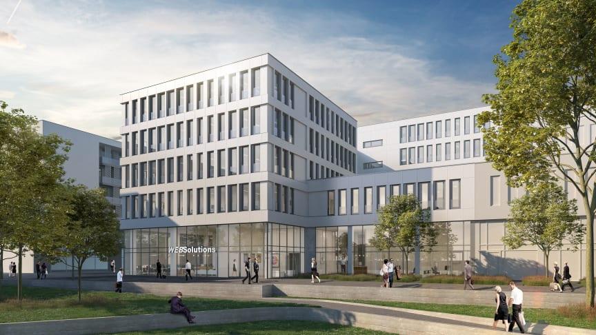 Debüt mit Maserung: Das Bürogebäude MOIRÉ ist STRABAG Real Estates erste Projektentwicklung in Luxemburg (Copyright: Dewey Muller für STRABAG Real Estate).