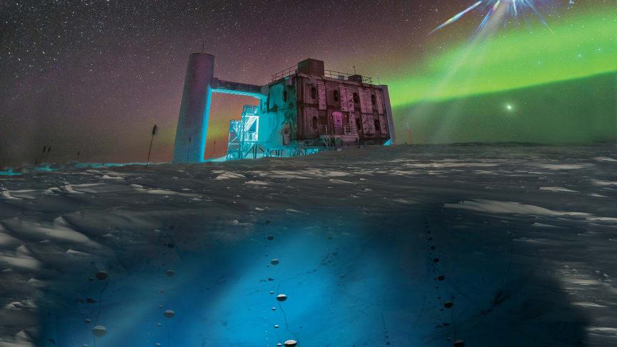 I denna konstnärliga bild, som utgår från ett foto av IceCube Lab vid Sydpolen, avger en avlägsen källa neutriner som detekteras under isen av IceCube-sensorer. Foto: Icecube / NSF