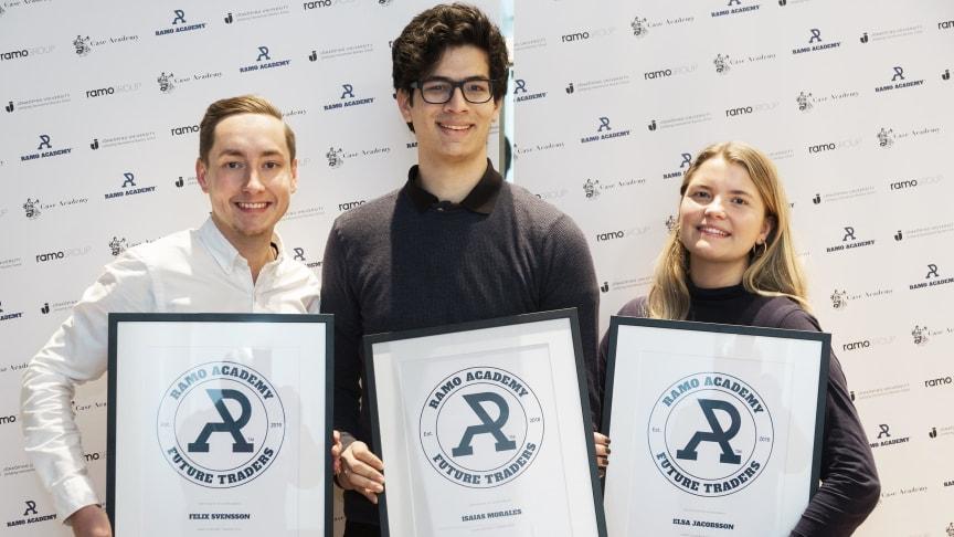Årets vinnare av Ramo Academy Case Competition 2019 är (från vänster) Felix Svensson, Isaias Morales och Elsa Jacobsson.