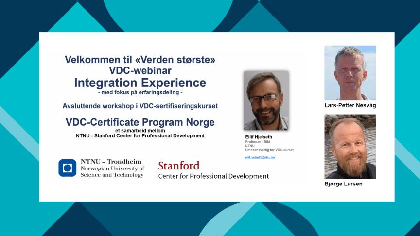 Lars-Petter Nesvåg og Bjørge Larsen er to av Norconsult-medarbeiderne som nylig mottok VDC-sertifisering gjennom Stanford University og NTNU.