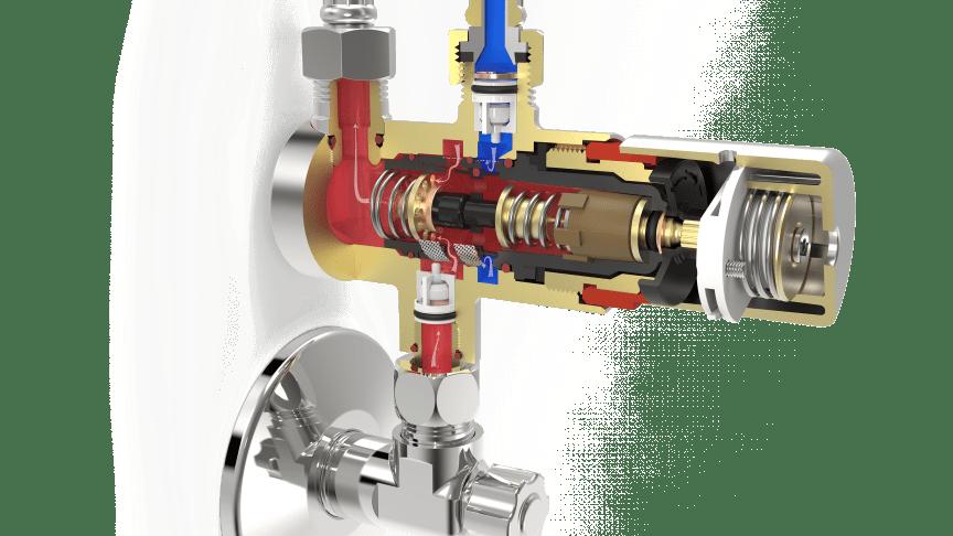 Termostaten kan både bruges til gennemskyldning af rørene med varmt vand og som skoldningsspærre.