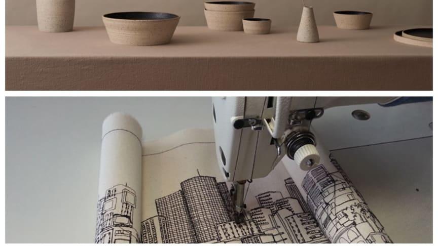 Överst exempel på Emma Ljungs keramik, nederst stadsvy sydd av Amnin Lipkin.