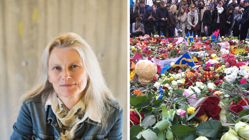 Maria Nilsson och kärleksmanifestationen på Sergels torg söndag 9 april 2017. Foto Niklas Björling respektive Maria Nilsson/Stockholms universitet.