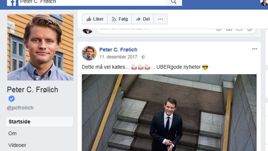 Peter Frølich (H) og Sveinung Rotevatn (V) brukte sine partiers landsmøter til nye PR-utspill for det kriminelle selskapet Uber. Vet partiene hva de driver med? (Faksimile fra Facebook fra tidligere).