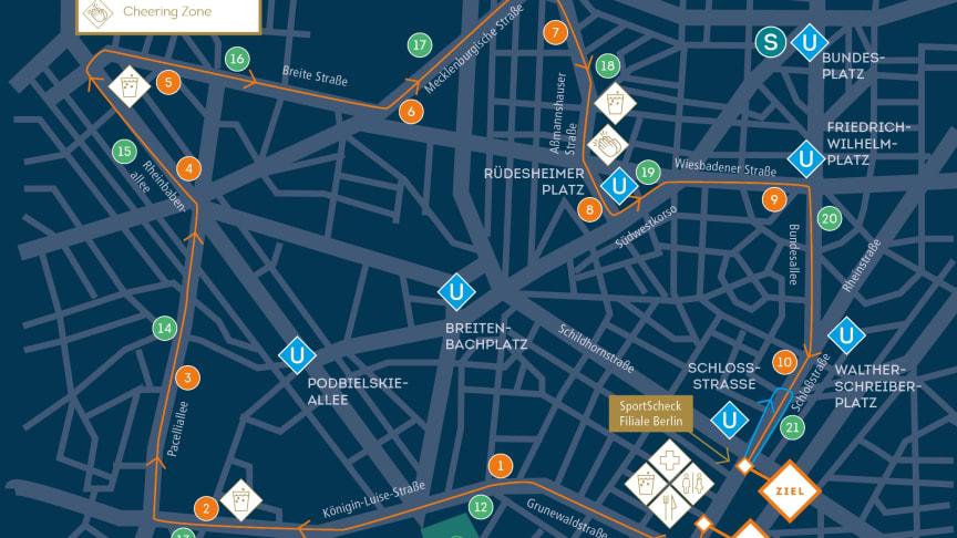 """Der SportScheck RUN Berlin """"Die Generalprobe"""" startet 2020 in der Schloßstraße 20. In der Ahornstraße (Steglitz) befindet sich der Zieleinlauf."""
