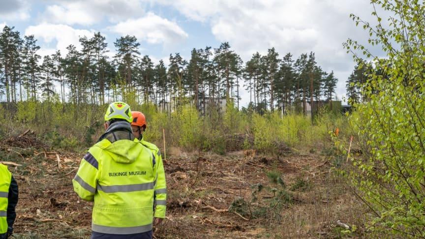 Från platsen för utgrävningarna den 28 april 2020. För högupplösta pressbilder se länk nedan.