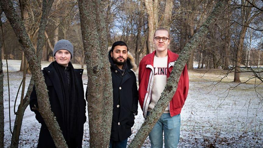 Dataingenjörsstudenterna Anton Ljunggren, Peshang Suleiman och Anton Lundström