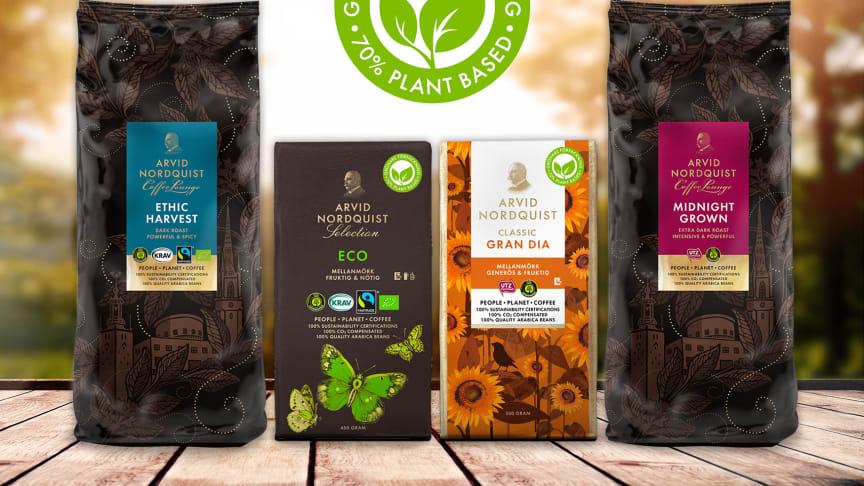 Arvid Nordquist nya kaffeförpackningar  består till minst av 70% växtbaserat material och halverar koldioxidutsläppet i förhållande till tidigare förpackningsmaterial.
