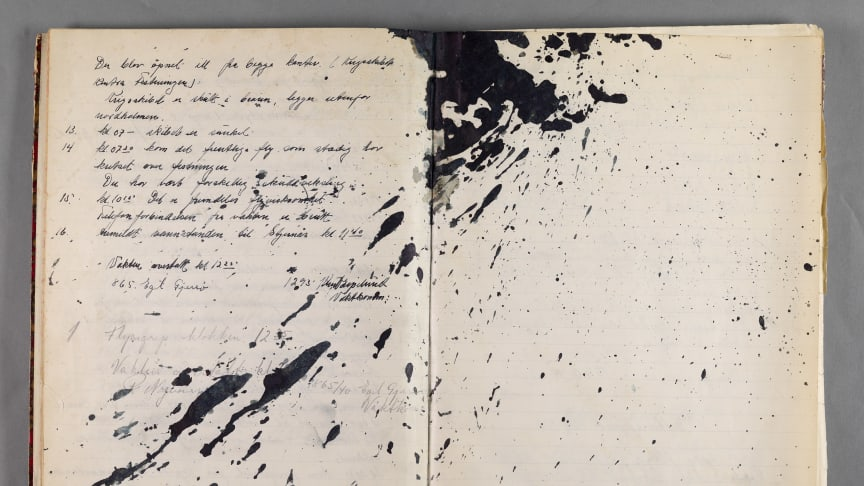 Vaktjournalen fra Oscarsborg 9. april 1940 (Arkivreferanse: RAFA-4479 Forsvarsdepartementet, Oscarsborg festning. Serie Fa, arkivstykke 1, Vaktjournal 27. mars – 10. april 1940).