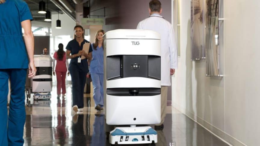 Robotti kantaa turvallisesti 50–500 kilon kuormia myös kaltevissa ja ahtaissa tiloissa sekä samoissa tiloissa ihmisten kanssa.