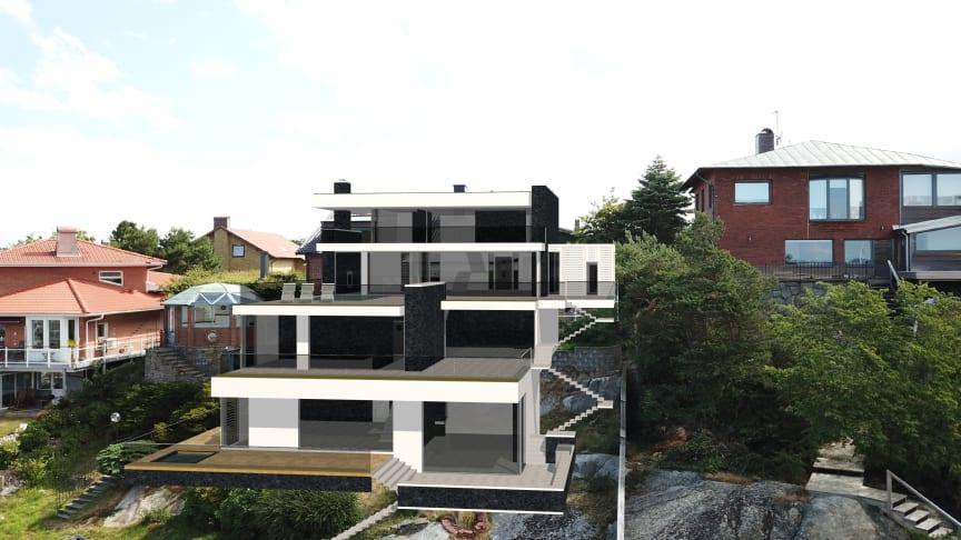 Dette bildet viser veldig godt hvordan det nye huset vil bli plassert i forhold til de andre husene i nabolaget.