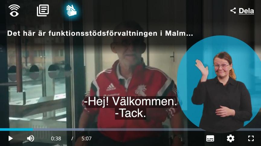 """""""Det här är funktionsstödsförvaltningen i Malmö stad"""" heter den färdiga filmen, som även presenteras i en tillgänglighetsanpassad videospelare."""