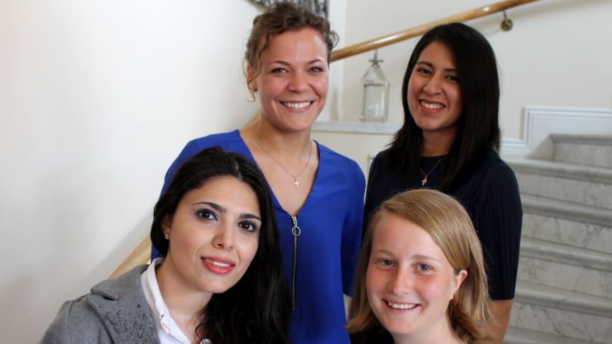 Årskonferensen valde in fyra ungdomsrepresentanter till styrelsen. Från vänster längst upp: Amanda Carlshamre, Fiorella Bastidas. Från vänster längst ner: Sally Adel och Ida Tonnvik. Foto: Mikael Stjernberg.